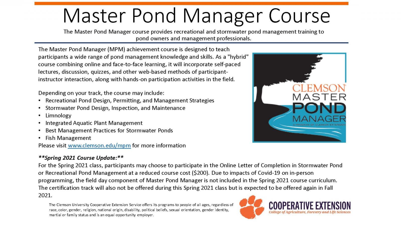 Master Pond Manager Course